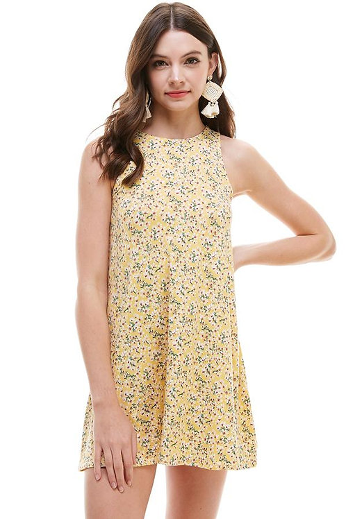 Brushed Ditsy Floral Muscle Tank A Line Dress