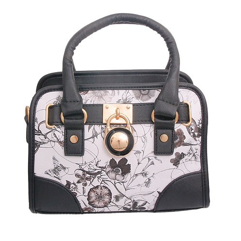 Black and White Leather Floral Handbag Set