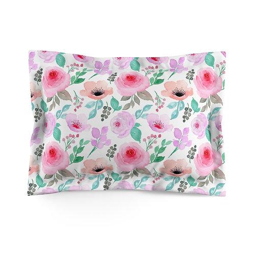 Pink Blush Floral Microfiber Pillow Sham