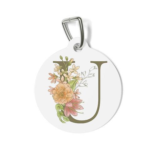 Personalized Floral Pet Tag -U