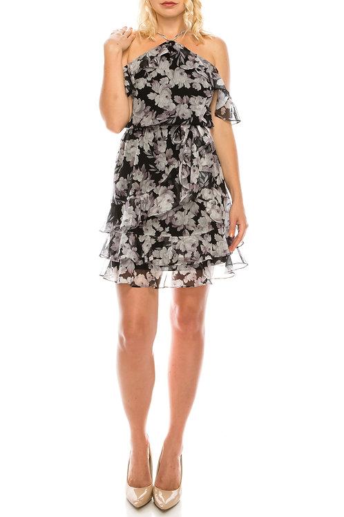 Bebe Off-Shoulder Floral Ruffle Day Dress