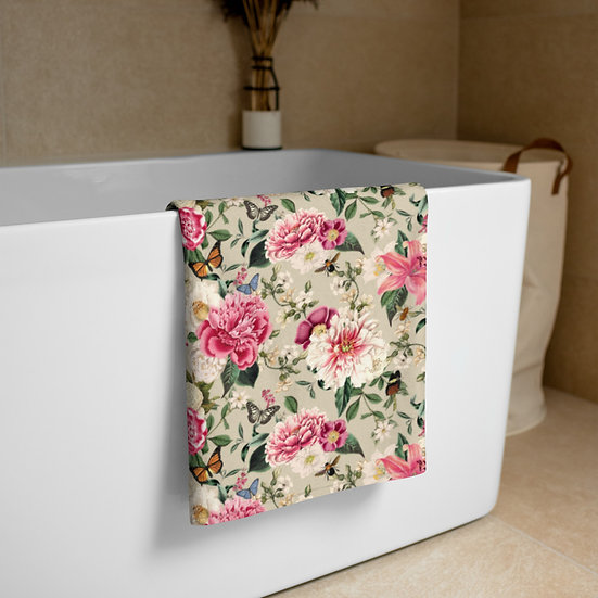 Beige Antique Floral Towel