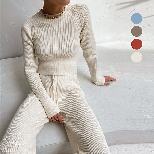 Ribbed Lace up Knitted Two Piece Set  Women Solid O Neck Long Sleeve