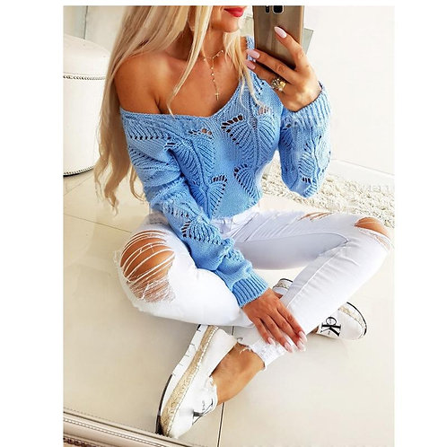 V-neck Hollow Out Long Sleeve Pullover Knitwear