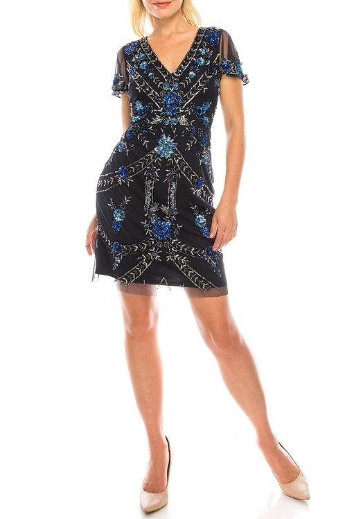 Aidan Mattox Twilight Floral Beaded Short Evening Dress