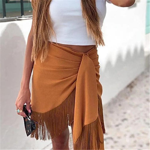 Bandage Fringe High Waist Skirt
