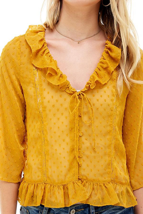 Lace trim Ruffle V-Neck Button Front Shirt Blouse