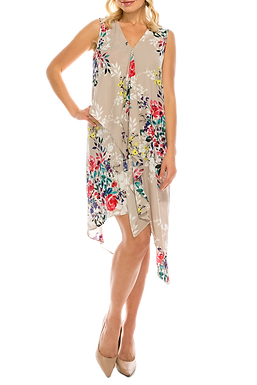 Adrianna Papell Ivory Multi Floral Printed Layered Dress