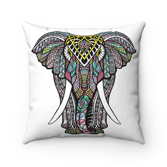 Decorated Elephant Square Pillow