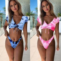 Cap Sleeved Drawstring Top & French Cut Bottoms Bikini