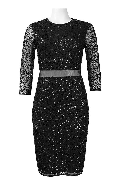 Joanna Chen Crew Neck 3/4 Sleeves Zipper Back Sequined Mesh Dress.SIZE 10