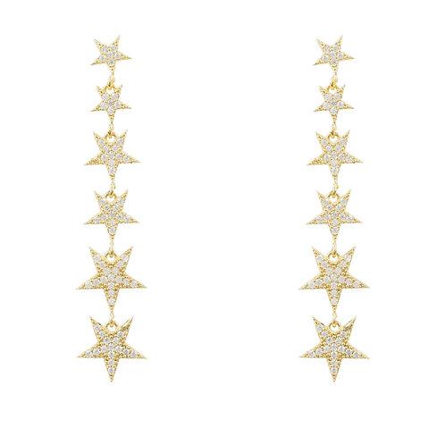 Graduated Star Drop Earring Gold