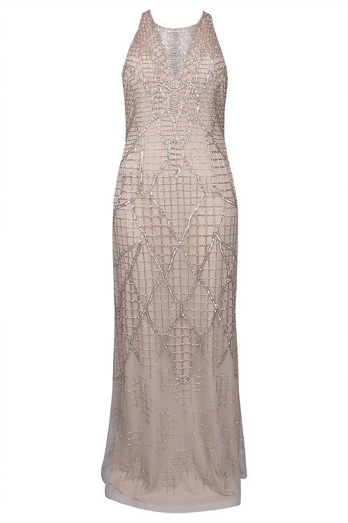 Aidan Mattox Criss Cross Back Beaded Gown