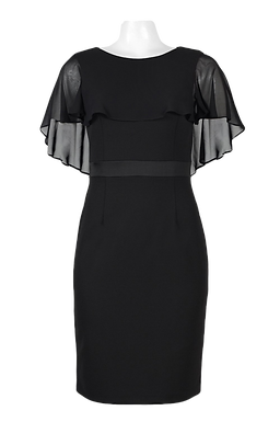 Adrianna Papell Scoop Neck Cape Sleeve Banded Waist Bodycon Chiffon