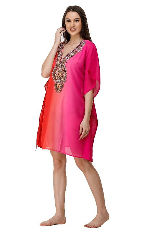 ADIRAV WOME GEORGTTE OMBRE PRINT BEADED SHORT DRESS