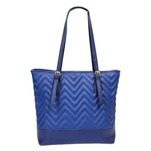 Blue Leather Chevron Tote Bag
