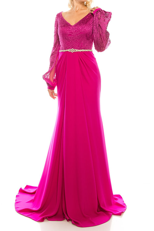 Odrella Salmon Rhinestoned & Embroidered Mesh Jacquard Evening Gown