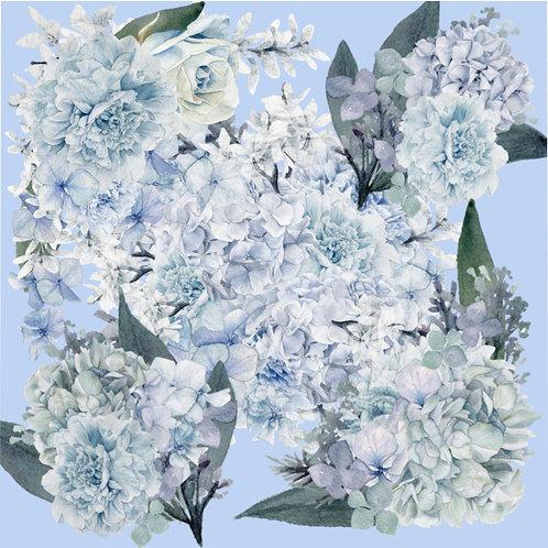 Hydrangea on Lt Blue Microfiber Duvet Cover
