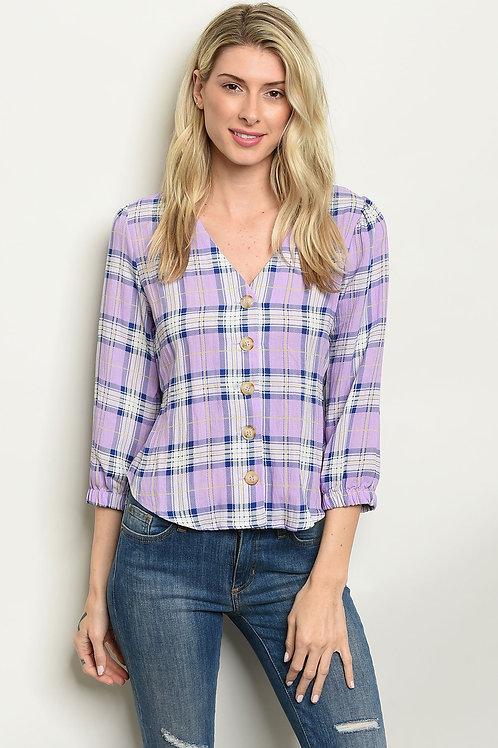 Lilac Checkered Top
