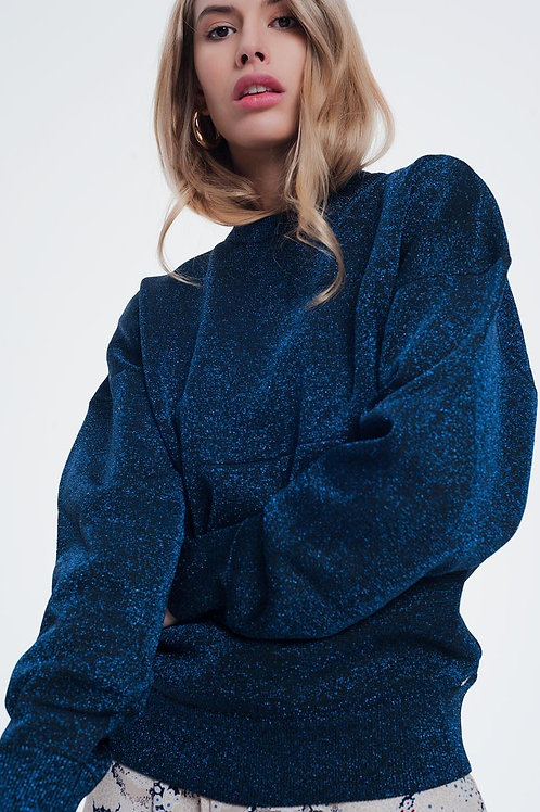 Blue Oversized Sweater With Round Neck