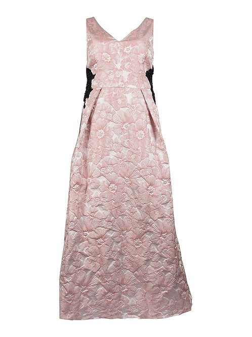 A glamorous, elegant sleeveless floral jacquard V-neck ball gown with