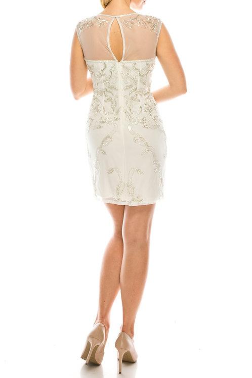Adrianna Papell Off White Beaded Evening Sheath Dress