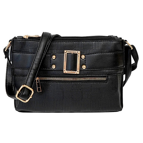 Black Leather Buckle Crossbody