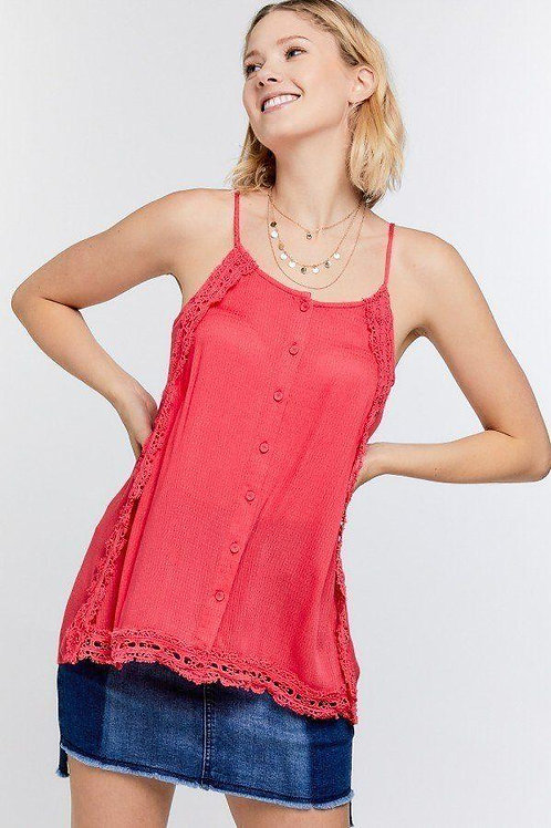 Boho Scallop Lace Trim Detailed Button Down Solid Subtle Textured Slit