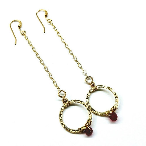 14 KT Gold Filled Wire Wrapped Pink Chalcedony Open Circle Earrings