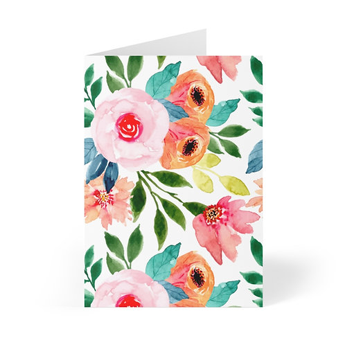 Pink and Peach Garden Greeting Cards (8 pcs)