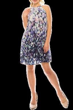 Adrianna Papell Halter Neck Pleated Floral Print Chiffon Dress