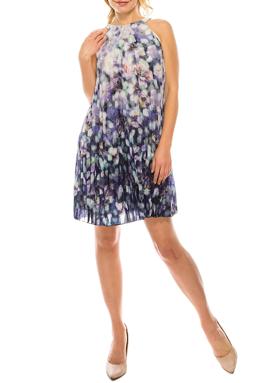 Adrianna Papell Halter Neck Pleated Floral Print Chiffon Dress