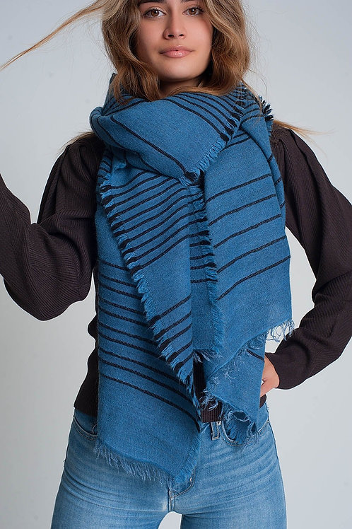 Blue Scarf With Black Stripes