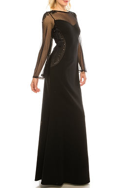 Adrianna Papell Black Nude Mesh & Crepe Evening Dress