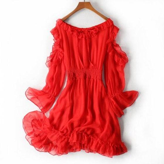 Pure-Silk-Dress-Womens-2020-Summer-Red-V