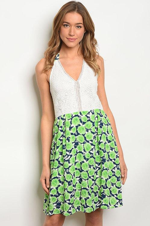 Womens Crochet Floral Dress