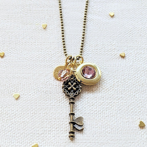 """ADJUSTABLE """"ONE HEART"""" VINTAGE KEY & BALL CHAIN LOCKET NECKLACE (LONG)"""