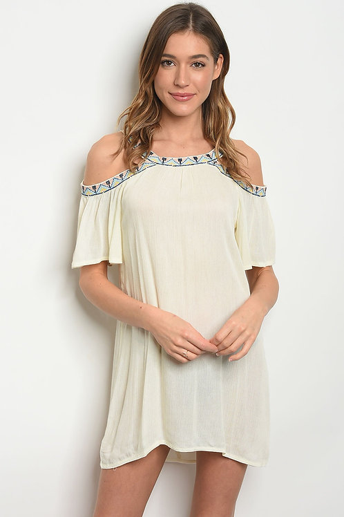 Womens Cream Cold Shoulder Dress