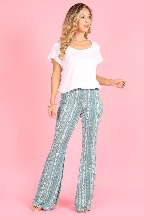 1253 High waist pants, relaxed fit, elastic waist, pockets, wide leg