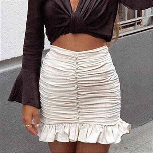 High Waist Ruched Ruffle Rhinestone Skirt