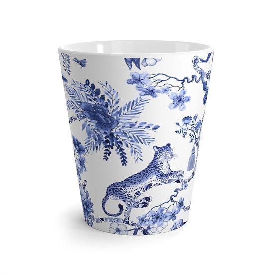 Blue Jungle Toile Latte Mug