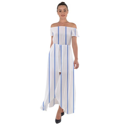 Blue Stripes Off Shoulder Open Front Chiffon Dress