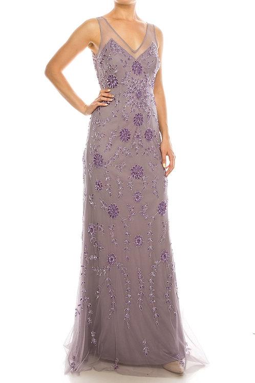 Adrianna Papell Illusion V-Neckline Sequin Floral Pattern Mesh Overlay