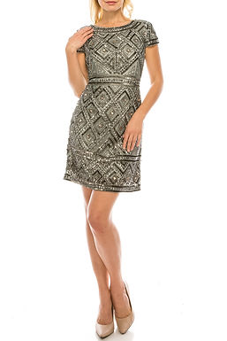 Adrianna Papell Slate Diamond Patterned Beaded Evening Sheath Dress