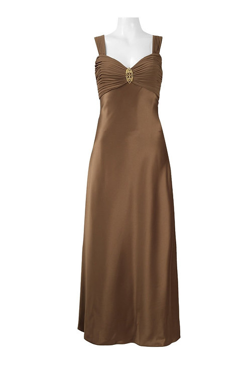 Alex Evenings Ruched Sweethear Neck Brooch Front Solid Satin Dress