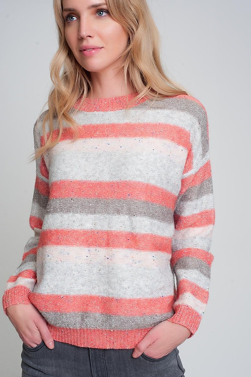 Round Neck Sweater in Red With Stripes and Long Sleeves