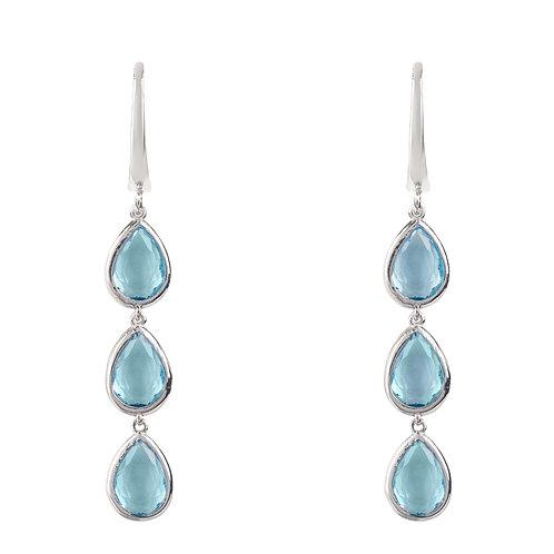Sorrento Triple Drop Earring Silver Blue Topaz