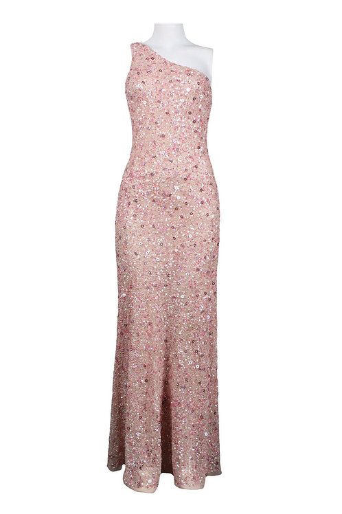 Adrianna Papell One Shoulder Long Sequin Dress