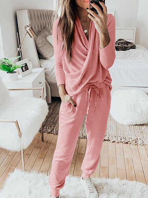 Casual Solid 2 Piece Set Women Long Sleeve Pullover Sweatshirt  Waist