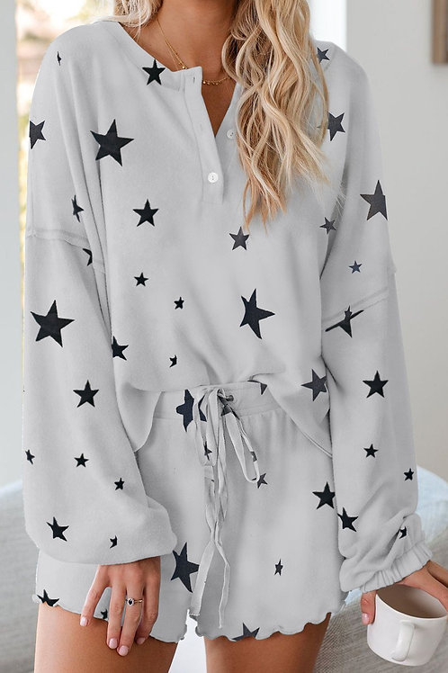 White Star Print Knit Long Sleeve Short Pajamas Set